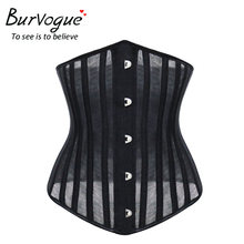 63bc6dd59 Burvogue Women Breathable 24 Steel Boned Corset Thin Mesh Underbust Sexy  Corsets Bustiers for Weight Loss Slimming Waist Cincher