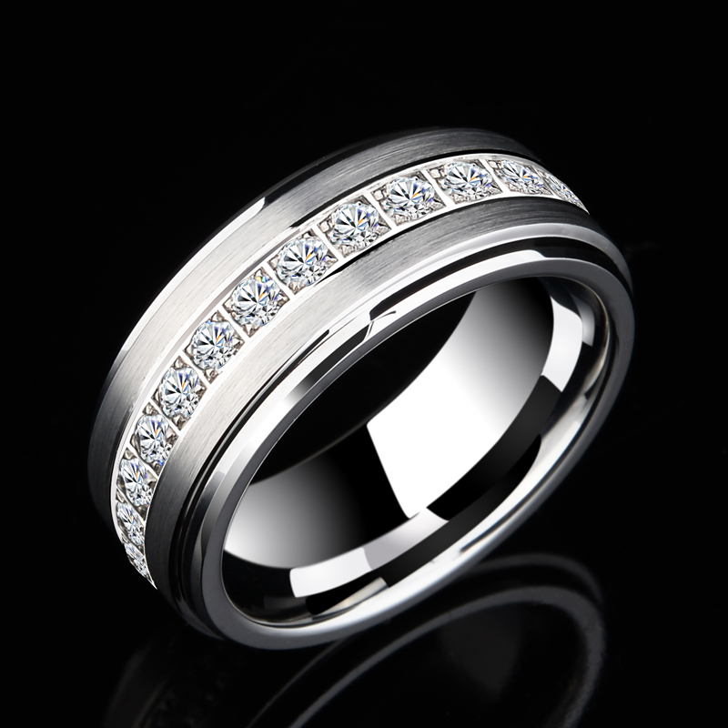 Men Cubic Zirconia Channel Tungsten Carbide Ring Polished Wedding Engagement Band, Free Shipping, Customized