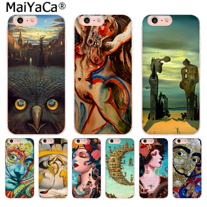 MaiYaCa Salvador Dali Clear Cell Fashion Fun Dynamic phone case for iPhone 8 7 6 6S Plus X 10 5 5S SE 5C 4 4S Coque Shell