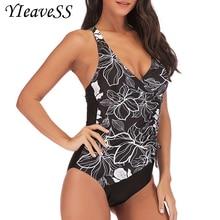 Цельный купальный костюм размера плюс, купальный костюм для женщин, купальный костюм с пуш-ап, винтажный Монокини, боди, пляжная одежда, купальный костюм с высокой посадкой