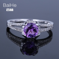 BAIHE Sterling Silver 925 0.71ct Certified Purple Flawless Round 100% Genuine Amethyst Wedding Women Trendy Fine Jewelry Ring