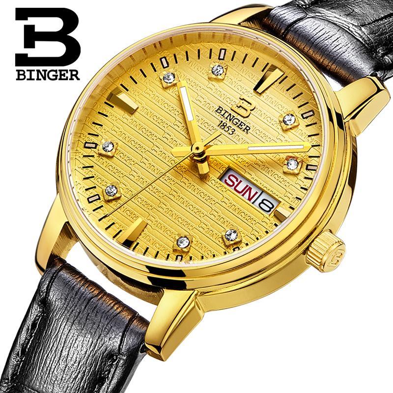 Switzerland Binger Women's watches fashion luxury watch ultrathin quartz glowwatch leather strap Wristwatches B3036G-5 binger 100