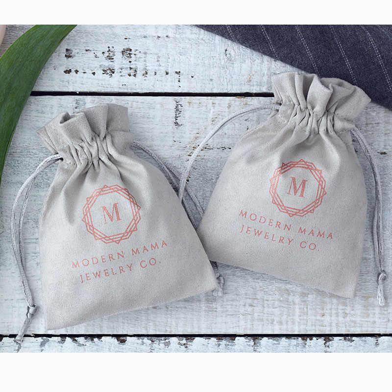Bộ 100 Màu Xám Dép Nỉ Trang Sức Túi Cotton Nhung Dây Kéo Túi Tặng Đóng Gói cho Đám Cưới Du Lịch Có Thể Tùy Chỉnh Logo
