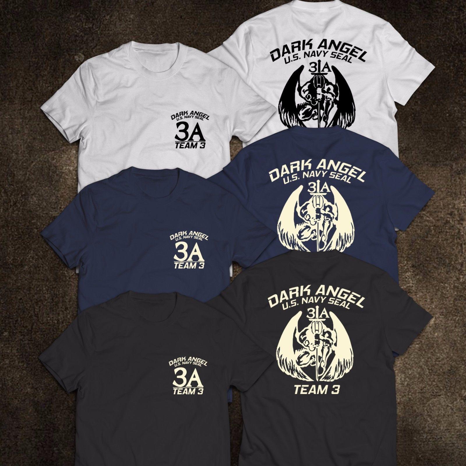 Camiseta da equipe 3 do anjo escuro da força especial dos eua do selo da marinha