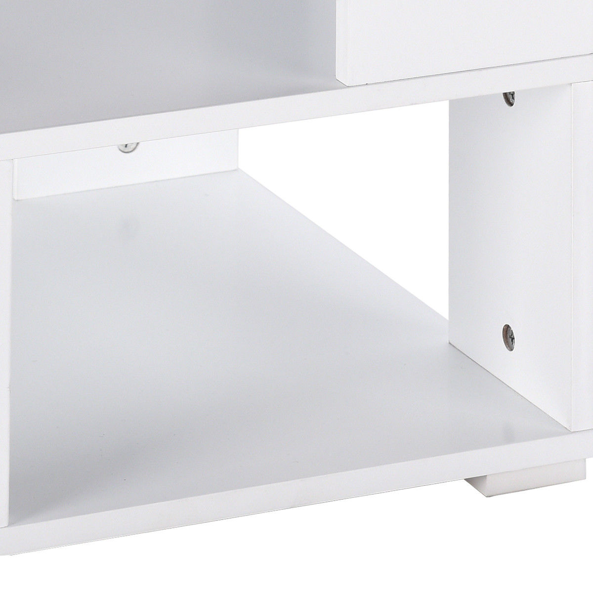 Giantex Modern Wood Square Coffee Table Living Room White End Side - Square coffee table with storage cubes