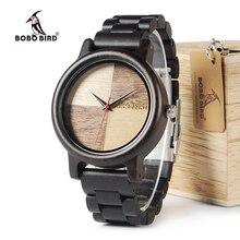 BOBO BIRD Wooden Watch Men Ebony Wood Timepieces Quartz