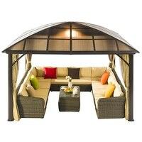 Открытый Павильон с набор садовой мебели из ротанга и занавес/садик за домом Sunroom