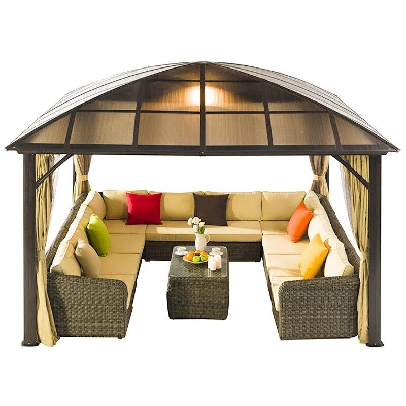 Pabellón al aire libre con juego de sofá de jardín y cortina/cuarto de Sol de jardín de patio trasero