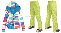 2014 Hot Womens Ski Suits Ladies Snowboarding Suit Skiwear Colorful Bar Jacket And Yellow Green Pants