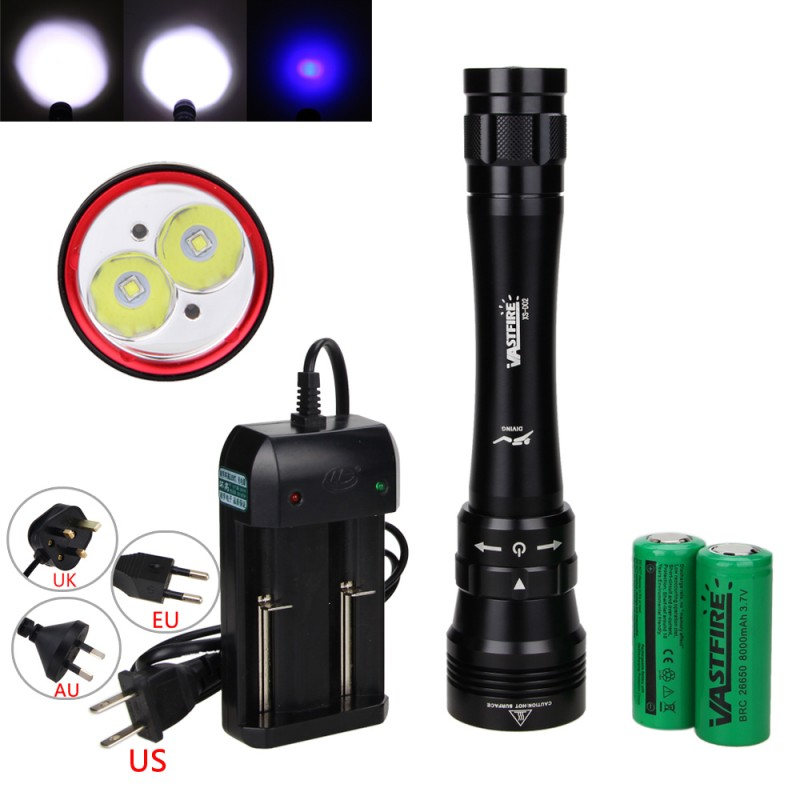 Bright 2XML L2 LED+2x Blue LED Waterproof Diving Flashlight Underwater 100M Diving Torch Lanterna outdoor sport camp fishing