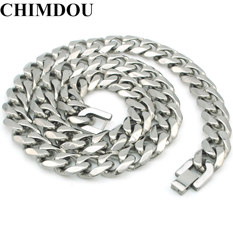 CHIMDOU 2018 New 55cm 13mm/10mm/7mm 316L Stainless Steel Necklace Men Jewelry Cuban Chain Party Gift, Rock Punk style AN349 chimdou fashion party punk 316l stainless steel mens chain link bracelets wolf bracelets wristband jewelry wholesale gift ab676