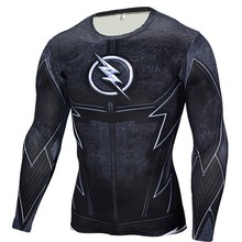 2017 New Men's Compression Shirt Crossfit T-shirt Men The Flash Print Fitness Long Sleeve Tops Workout Base Layer Brand Clothing