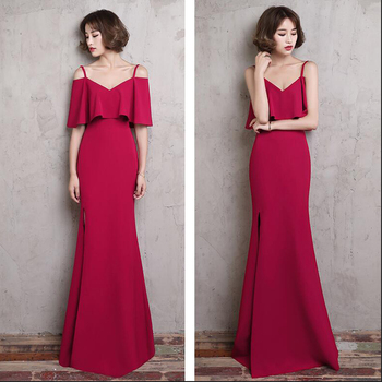 Spaghetti Straps Prom Dresses Wine Red Party Dress Long Floor Length Cheap Split Evening Gowns