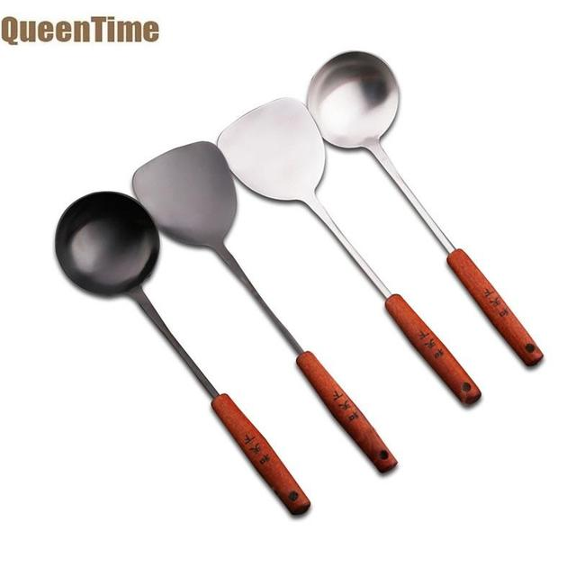 QueenTime Stainless Steel Ladle Turner Set Metal Spatula Long Handle Soup Spoon Kitchen Gadget Pancake Flipper Cooking Accessory