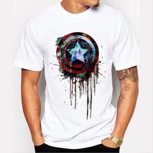 Captain America's shield paint printed t-shirts Super Hero T-Shirt Hulk/Thor Movie T Shirts Geek Tee 90-3#