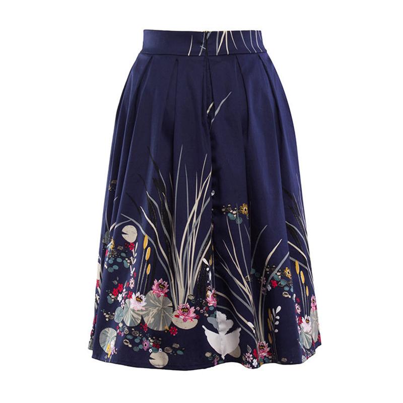 Kostlish 2017 Retro Print Summer Skirts Womens High Waist 50s Vintage Midi Skirt Elegant Slim Big Swing Women Skirt Plus Size (8)