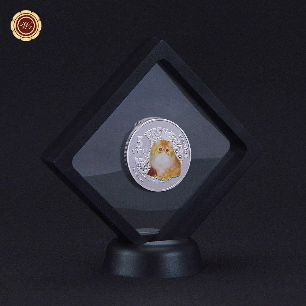 ᑐGato de plata plateado color moneda conmemorativa con Marcos lindo ...