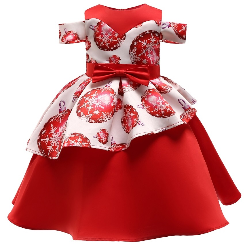 2019 New   Girls   dressed up to attend birthday party first snow stamp   dress  ,   girl   Christmas Day Party Prom   Dress   vestidos
