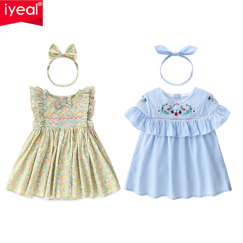 IYEAL New Fashion Summer Toddler Baby Girl Clothes Cotton A-Line Ruffle Sleeve Dresses with Headband for Infant Baby Outfit 1-3Y