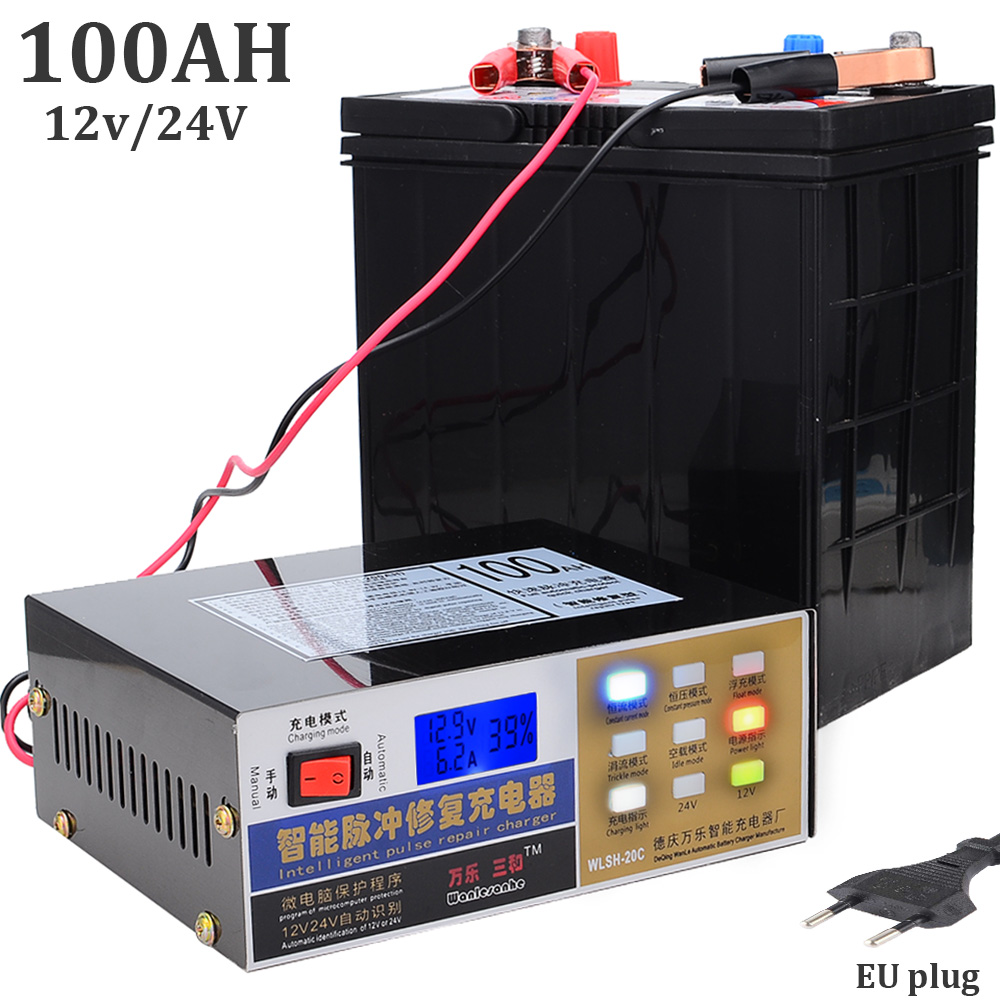 New 12V 24V Universal Lead acid Battery Charger Lithium Battery Charger For Car Vehicle Motorcycle Truck