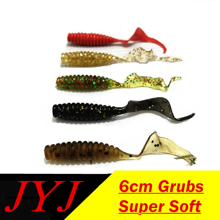 50pcs Paddle Tail Soft Grubs 60mm Curly Tail Lure Jig Head soft lure for bass Fishing Mandarin fishing tackle 50pcs new wifreo soft lure loader locker connector fishing worm hook bait accessories for bass fishing wholesale