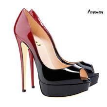 купить Aiyoway Women Shoes Ladies Peep Toe High Heel Gradient Pumps Platform Autumn Spring Clubwear Party Shoes Slip On Sexy Thin Heels по цене 3505.71 рублей