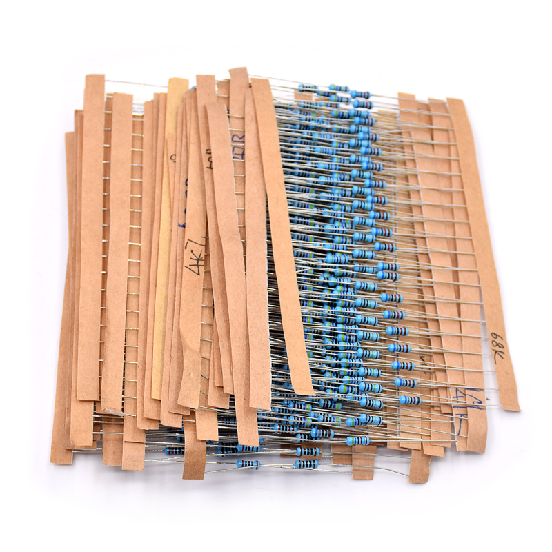 Total 600pcs 1% 1/4W Metal Film Resistor Assorted Kit 30 Values (10 Ohm ~1M Ohm) ,20pcs Each Value