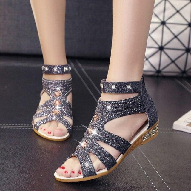 Rome Brand Crystal Cut Out Gladiator Sandals Women Gold Glitter Peep Toe Sandalia  feminina rhinestone wedges sandals for women cd68cbdb2f69