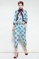 Yüksek kalite marka tasarımcısı paillette bluz + kırpılmış pantolon setleri Moda 2018 bahar pistleri kadın çiçek Eğlence takım elbise