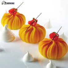 SHENHONG Silicone Pumpkin Lanterns Cake Mould Pop Silikonowe Formy 3D Mousse Mold Art Moule Muffin Brownie Baking Pastry Tools(China)