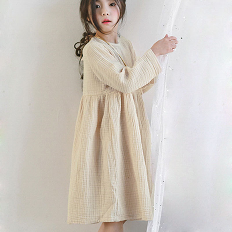 2018 Fall Big Girl Dress Loose Ruffles Cotton Linen Full Sleeve Teens Dresses Bow Casual Kids Outfits Princess Children Clothing 2018 casual boho short sleeve maxi dress square neck floral printed ruffles dress loose flare sleeve a line ruffles dresses