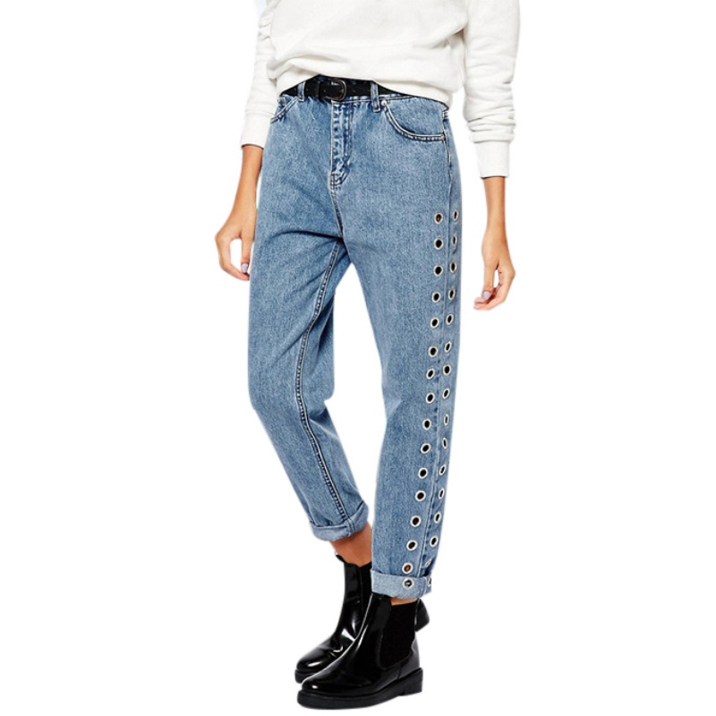 New Arrival 2018 Fashion Rivets Ripped High Waist   Jeans   Straight Eyelet Detail Boyfriend Denim   Jeans   Women Pants Female   Jeans   H9