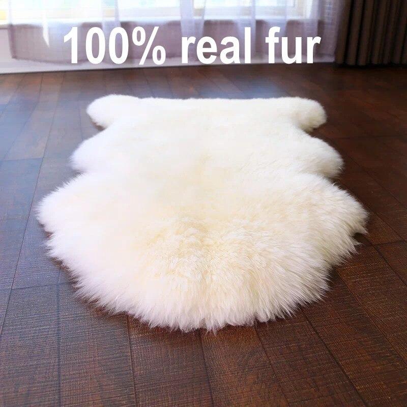 Qualité sélectionnée véritable peau pleine nouvelle-zélande tapis en peau de mouton, beige blanc shaggy mouton fourrure décoration canapé coussin, tapis de fourrure