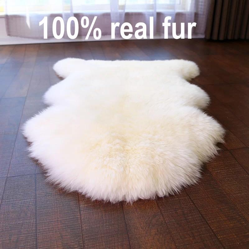 Alfombra de piel de oveja de Nueva Zelanda, piel real, piel seleccionada, decoración de piel de oveja peluda de color beige blanco cojín del sofá, alfombra de piel