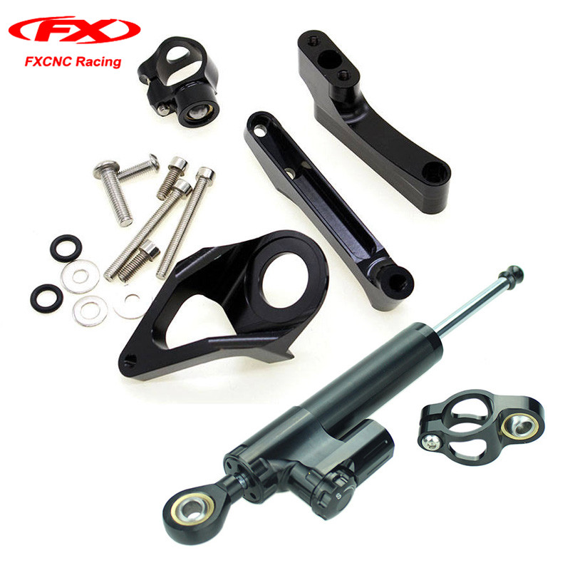 FXCNC Motorcycle Steering Damper Brackets Stabilizer Mounting Kits Set for SUZUKI GSXR1300 1998-2016 1999 2000 2001 2002 2003 04 fxcnc aluminum motorcycle steering stabilizer damper mounting bracket support kit for yamaha fz1 fazer 2006 2015 2007 2008 09