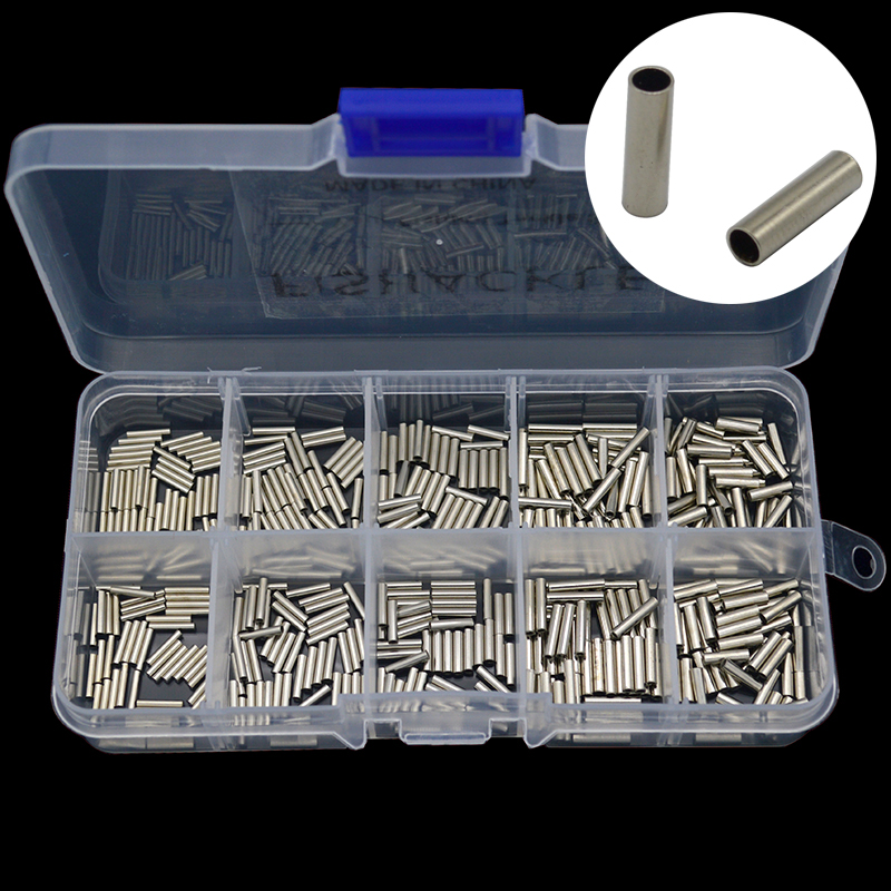Copper Fishing Crimp Sleeves 500pcs/set Single Round Fishing Line Crimping Tube Wire Crimp Connector Accessories 1.0-1.8mm