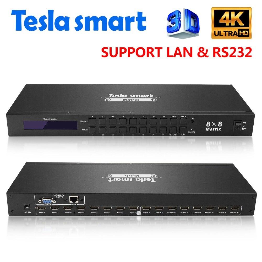 DHL Livraison Tesla smart 4K2K Haute Qualité 8 en 8 out HDMI Matrice 8x8 avec RS232/LAN 2 Pcs 1U Rack Oreilles Ultra HD 4 K Full HD 1080 P 3D