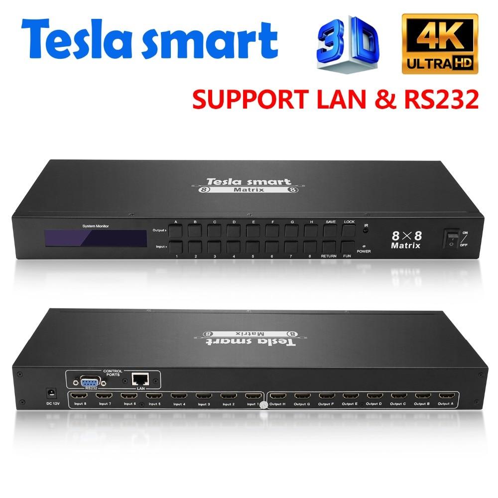 DHL Livraison Tesla smart 4K2K Haute Qualité 8 dans 8 out HDMI Matrice 8x8 avec RS232/LAN 2 Pcs 1U Rack Oreilles Ultra HD 4 K Full HD 1080 P 3D