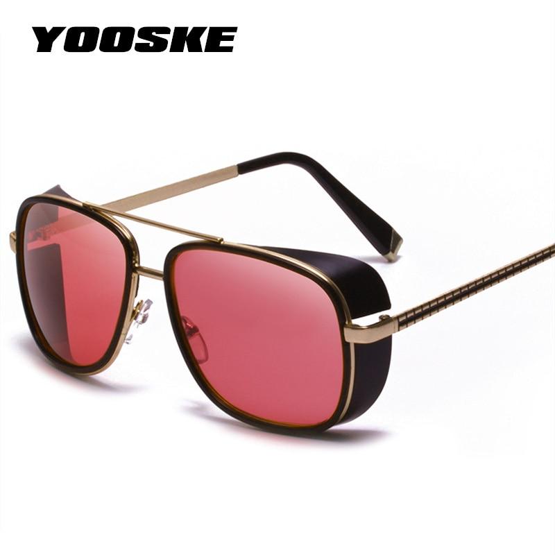 YOOSKE Iron Man 3 TONY Occhiali Da Sole Degli Uomini Rivestimento di Marca Del Progettista Dell'annata occhiali da Sole Donne Retro Doppio Fascio Occhiali Shades UV400