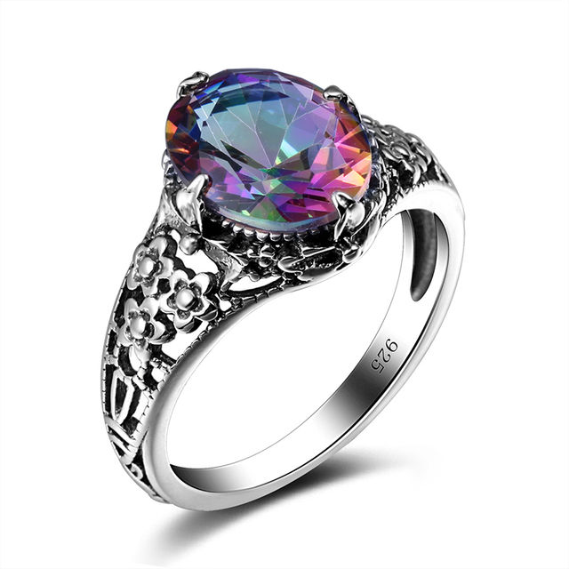 Mystic Fire Rainbow Stone Cubic Zirconia For Woman Ring Sterling Silver 925