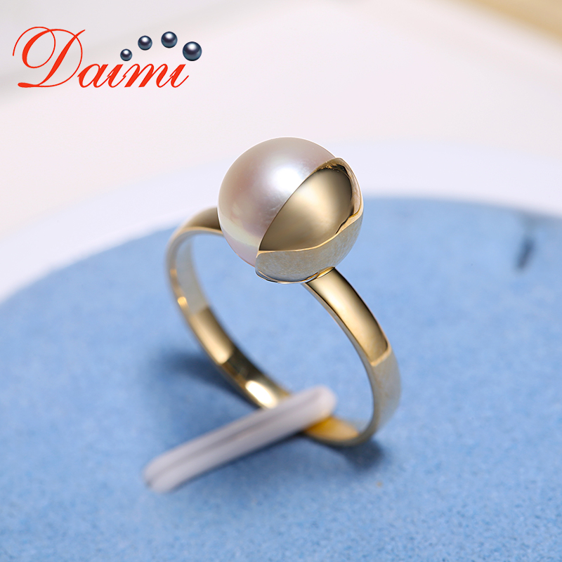 DAIMI 8-8.5mm Akoya Pearl Ring 9K Gold Ring Prefectly Round Pearl Ring pearl beaded ring round neck tee