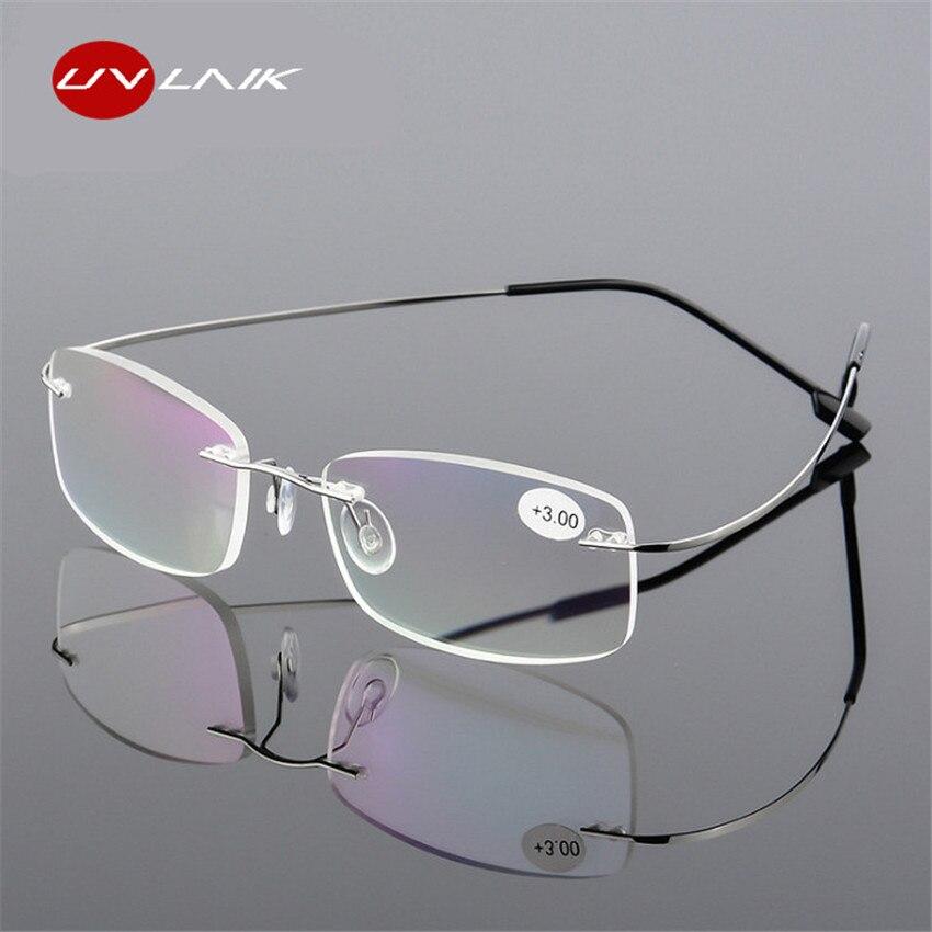 UVLAIK Rimless Presbyopic Reading Glasses Ultra Light Flexible Women Men Frameless Diopter Reader Glasses +1 +1.5 +2 +2.5 +3