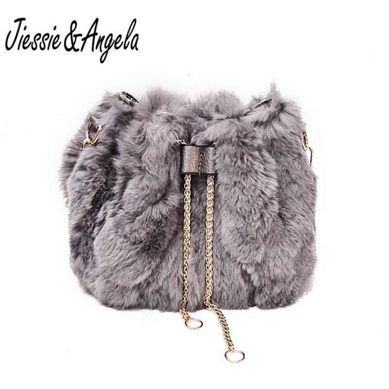 Jiessie & Angela Women Fashion Bucket Bag For Winter Faux Fur Handbag Chain Messenger Bags For Ladies Tote Bag delicate faux fur dot mini bag shape keyring for women