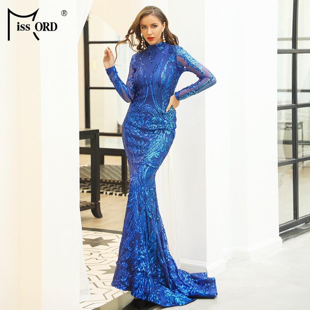 Missord 2019 Для женщин сексуальные с высоким воротом и длинными рукавами блесток макси платья для выпускного вечера Женские Элегантные пол Длин