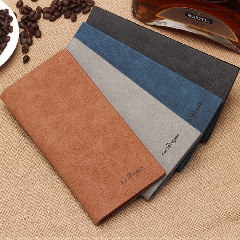 Men's Wallet Scrub Retro Ultra-thin Long Soft Leather Wallet Multi-card Wallet Card Holder Provide Name Engrave