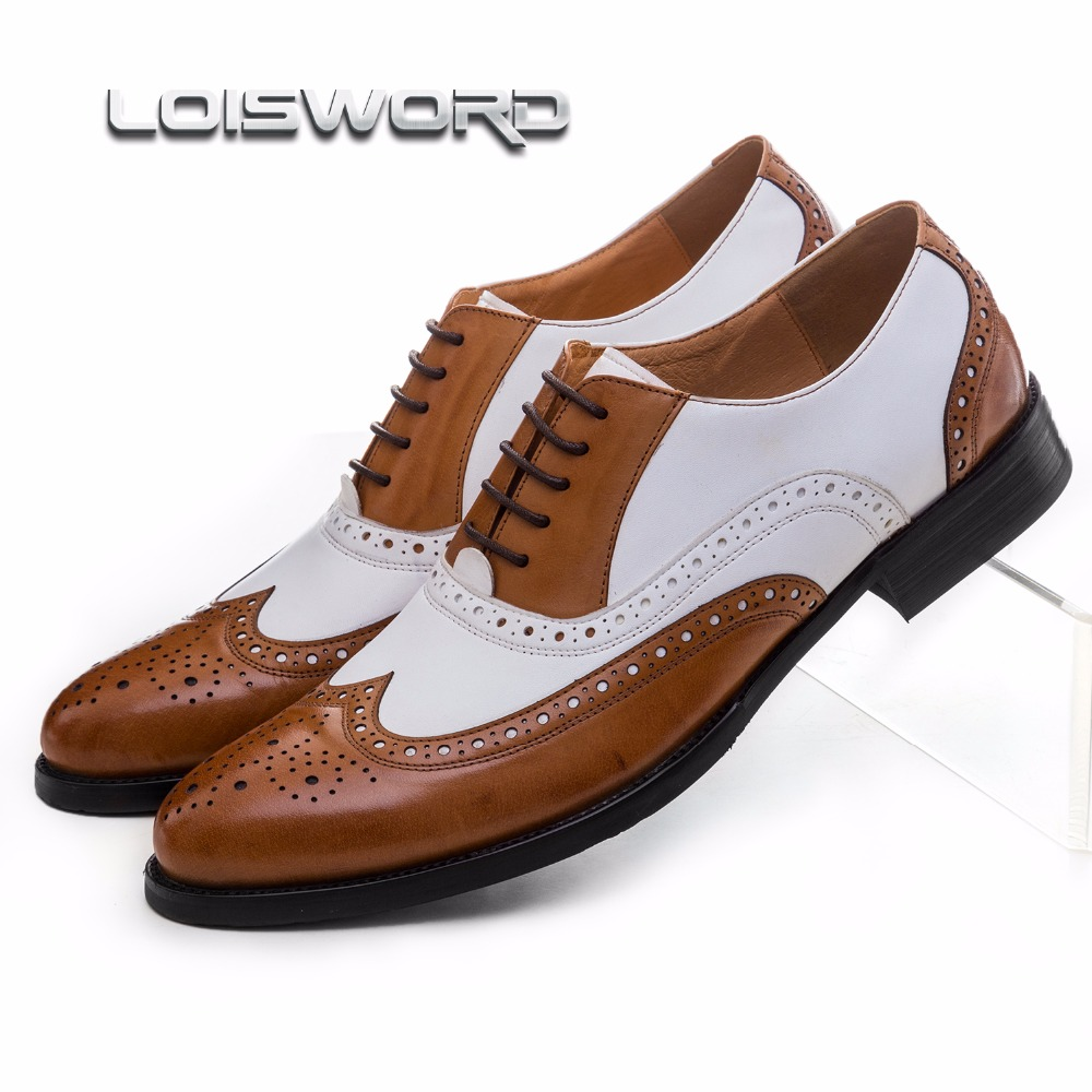 LOISWORD Large size EUR45 black white / brown white mens wedding shoes genuine leather dress shoes formal oxfords shoes top quality crocodile grain black oxfords mens dress shoes genuine leather business shoes mens formal wedding shoes