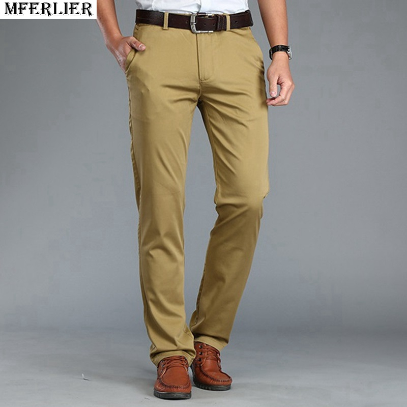MFERLIER Summer Autumn Men Pants Simple Smart Casual Cotton Straight Long Classic Long Pants Business Trousers Khaki Blue 42 44