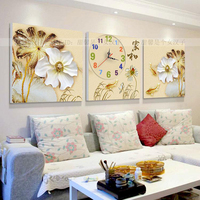 The Living Room Large Diamond Painting Full Of Drilling Cross Stitch Embroidery With Clock Lotus Floral