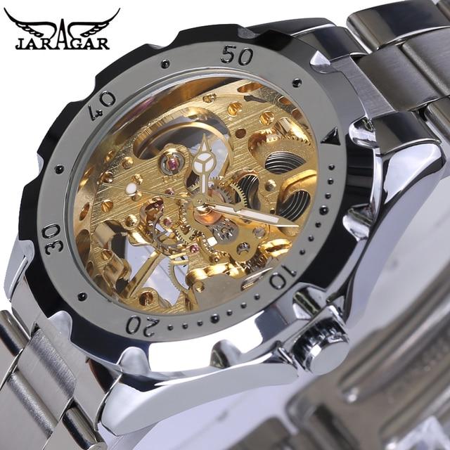 a6d19a68e1c 2018 Homens Esqueleto Relógio Mecânico Relógio de Ouro Esqueleto Oco  Transparente Projeto Do Vintage relógio de
