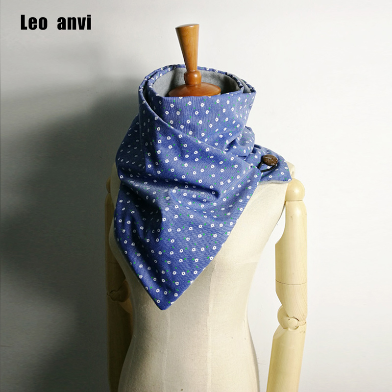 Leo Anvi Chunky Women Fashion Winter Warm Scarf Ring Brand Luxury Scarves Floral Infinity Shawl Foulard Soie With Buttons